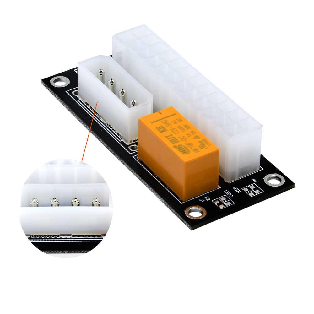 Tishic Add2psu Adaptador Doble de 24 pines ATX a 4 pin conector de Cable de sincronización de fuente de alimentación para tarjeta de Cable de extensor de extracción Btc