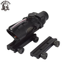 SINAIRSOFT Berburu Riflescope ACOG 1X32 Nyata Serat Optik Merah Hijau Diterangi dengan 11 + 20 Mm RailMount Taktis Pemandangan Optik(China)