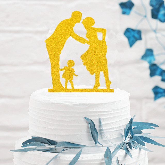 Happy Family Kissing Bride and Groom with a Girl Gold Wedding Cake ...