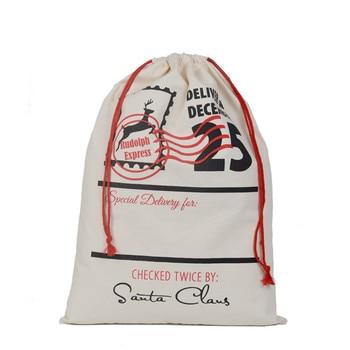 12pcs/lot Christmas Gift Bags 50*70cm Canvas Santa Sack elk cotton canvas Santa Claus bag Reindeer gift bag&holders 18 style Dec
