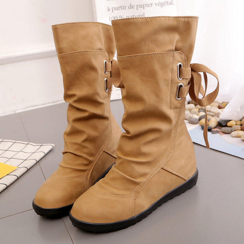New Women Boots Chelsea Motorcycle Western Boots Woman Ladies Increased Internal Slip-on Shoes Plus Size Autumn Winter Promotion xiaying smile spring autumn winter style woman shoes casual fashion cool increased internal shoes slip on rubber women shoes