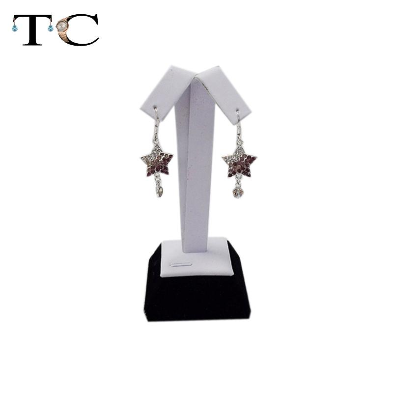 Free Shipping Earring Holder Black+White PU Leather Jewelry Display Stand For Earrings Tree Showcase