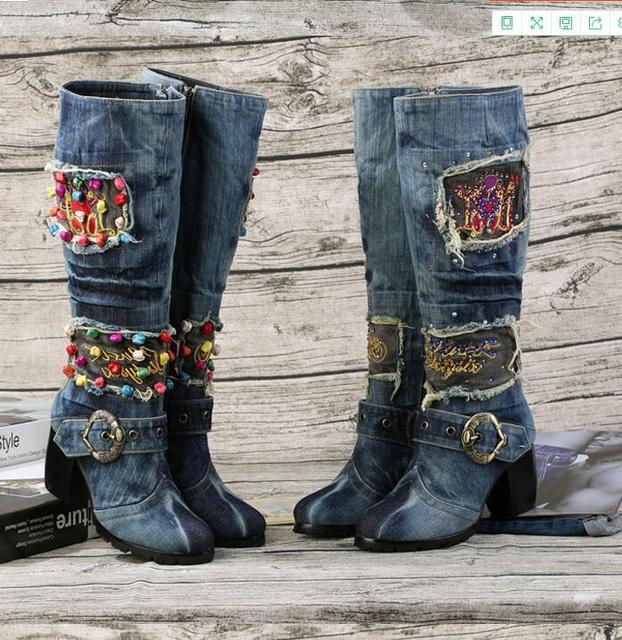 85dbcd276d3 Kaeve Blue Denin Mid-Calf Boots Sexy Chunky Heels Pumps Cowboy Crystal Shoes  High Heels Jean Round Toe Martin Boots