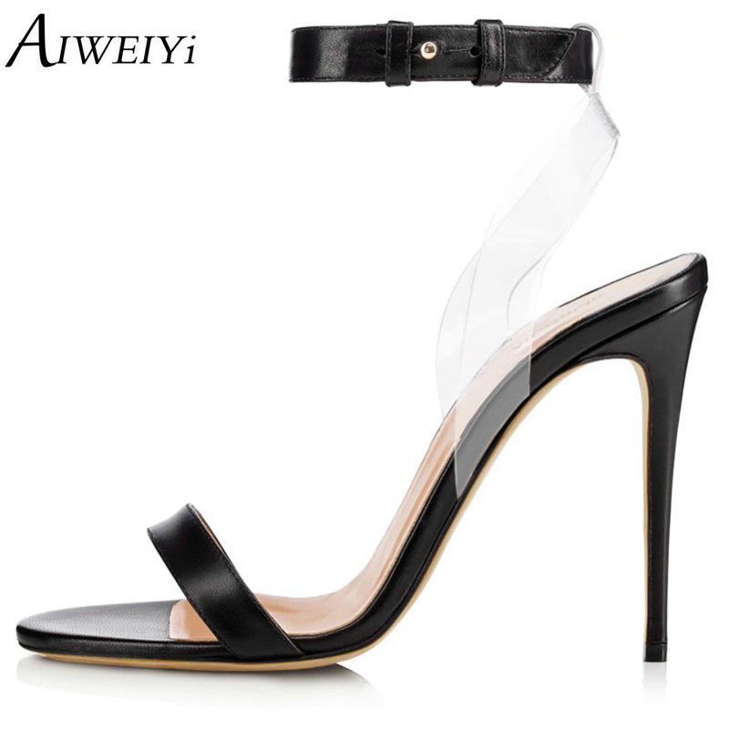 AIWEIYi New Summer Women High Heels Sandals Shoes Woman Party Wedding Ladies Pumps Ankle Strap Buckle Stilettos Sexy Shoes new arrival black brown leather summer ankle strappy women sandals t strap high thin heels sexy party platfrom shoes woman
