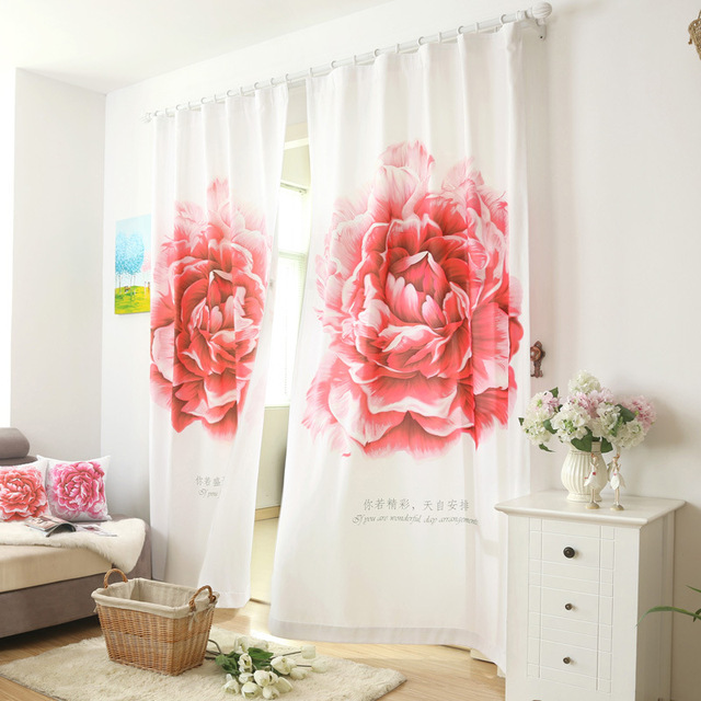 140*260cm finished pastoral curtains beautiful big floral cloth ...