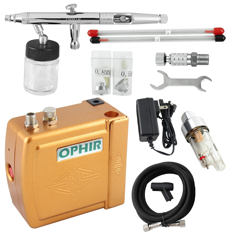 OPHIR Airbrush Cosmetic Makeup System Airbrush Kit with Air Compressor for Tanning Body Paint Cake Decorating _AC003G+093+011 ophir 3 tips dual action airbrush gravity paint air brush with 110v 220v air tank compressor for nail art body paint ac090 070
