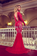 Hot&sexy backless crystal scoop neck mermaid red lace long prom dresses with long sleeves 2016 free shipping evening dress stylish scoop neck long sleeves solid color lace dress for women