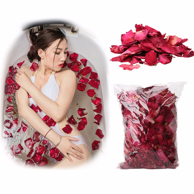 1 Pack Dried Rose Petals Natural Flower Bath Spa Whitening Shower Dry Rose Flower Petal Bathing Relieve Fragrant Body Massager 1