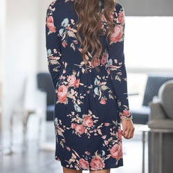2018 Spring Autumn Dress Women Mini Dress O-Neck Floral Print Long Sleeve Dresses Party Vestidos Femme Dropshipping Y9 4