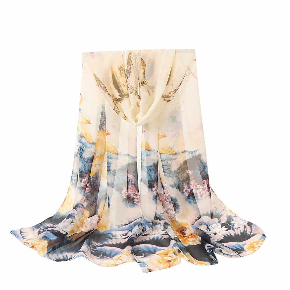 Hot Sale Sifon Wanita Musim Gugur Musim Dingin Panjang Lembut Wrap Syal Gaya Pantai BoHo Floral Dicetak Syal Jilbab Bandana # yl