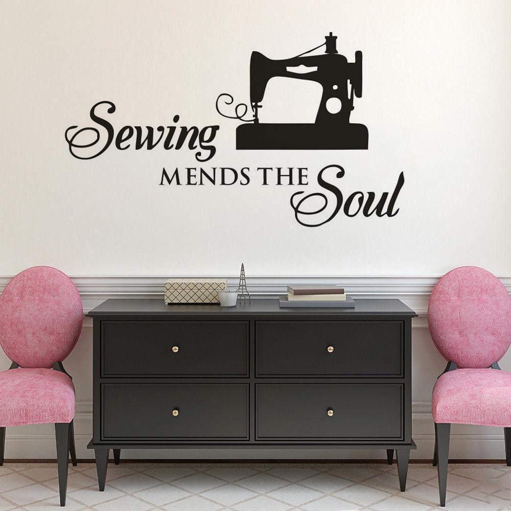 Sewing Machine Vintage Pink Background Removable Matte Sticker Sheets Set