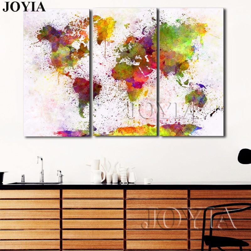 Watercolor world map canvas print large wall art picture abstract watercolor world map canvas print large wall art picture abstract colorful splash maps decor poster decoration painting no frame in painting calligraphy gumiabroncs Images