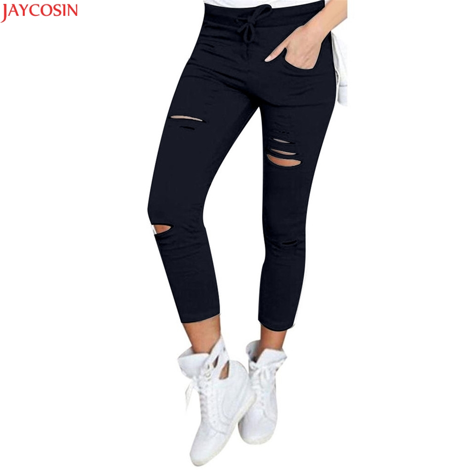JAYCOSIN Jeans Pencil-Pants Hole Boyfriend-Material Skinny Vintage Ripped Denim High-Waist