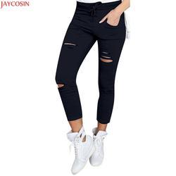 2018 JAYCOSIN высокая Талия Тощий Мода бойфренд материал джинсы для женщин горячие для отверстие Винтаж обувь девочек тонкий рваные Джинс
