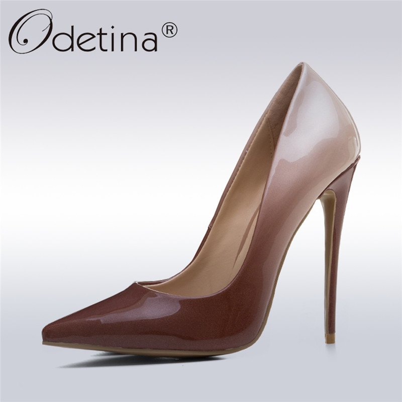 Odetina 2018 New Fashion Stiletto Heels Gradient Pumps Patent Leather Pointed Toe Dress Party Shoes Thin High Heels Big Size 43 odetina 2017 new women 12 cm gradient heels slip on extreme high heel stiletto pumps sexy party shoes pointed toe big size 33 43