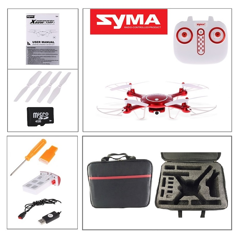 Syma X5UW 720P 2MP HD Camera 4GB Card WIFI FPV RC Drone Altitude Hold Headless Mode RC Quadcopter with Outdoor Carry Bag jjrc h49 sol ultrathin wifi fpv drone beauty mode 2mp camera auto foldable arm altitude hold rc quadcopter vs e50 e56 e57