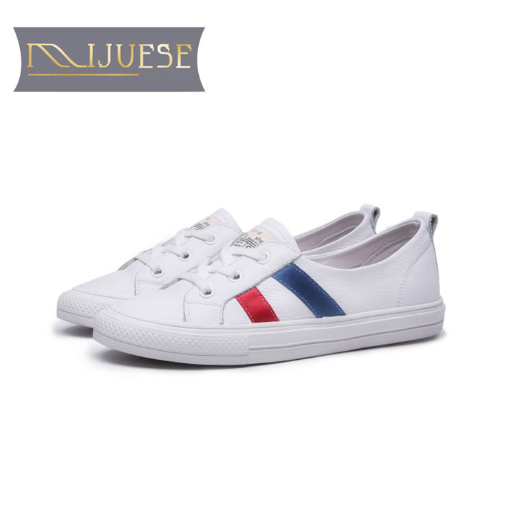 MLJUESE 2018 women sneakers cow leather lace up mixed colors autumn spring Vulcanize Shoes fashion sneakers
