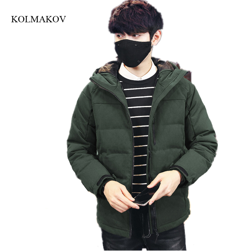 New arrival winter men high-end boutique down coats fashion casual hooded jacket mens thick solid zippers overcoat size M-3XL