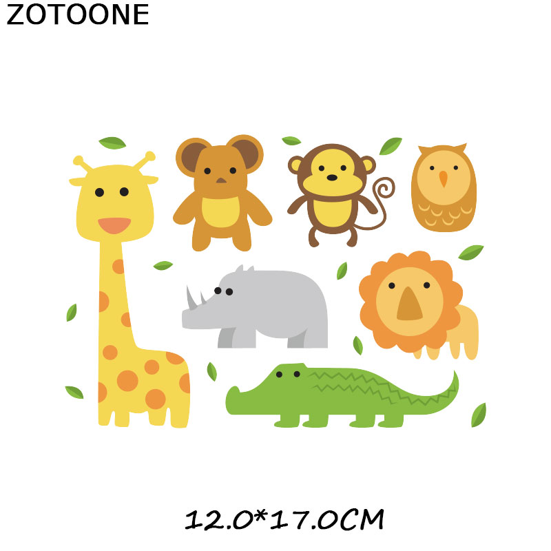 ZOTOONE Cute Cartoon Animal Set Iron on Transfer Patches for Clothing Beaded Applique T Shirt Clothes Decoration DIY Kids Gift G in Patches from Home Garden