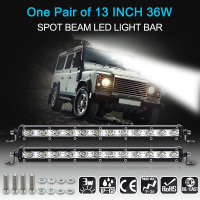 KKMOON 1Pairs 13 36W LED Light Bar Slim Work Light Spot Beam Driving Fog Light Road