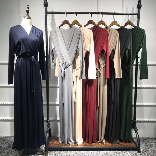 7colors Elegant Muslimah Pleated abaya Turkish Singapore full length Jilbab Dubai female Muslim Islamic dress wq1330 dropship 5