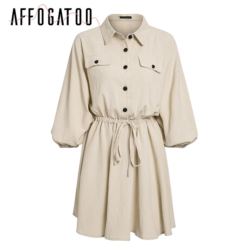 Affogatoo Vintage elagant women mini shirt dress Casual lantern sleeve short dress Turndown collar lace up linen female dresses 8
