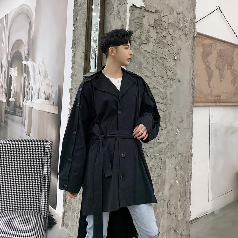 Men   Trench   Coat Harajuku Streetwear Asymmetry Design Fashion Casual Loose Windbreaker Jacket Male Overcoat Spring Autumn Clothes