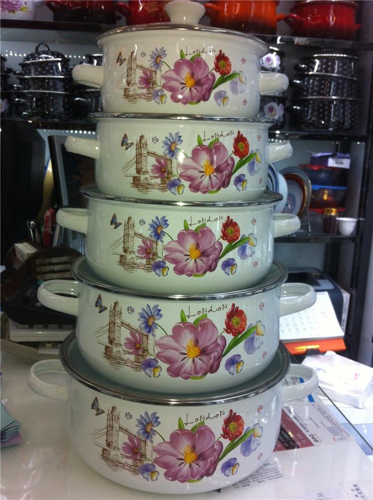 Livraison gratuite casseroles ensemble 10 pièces émail casseroles set faitout marmite lait pot 16/18/20/22/24 cm
