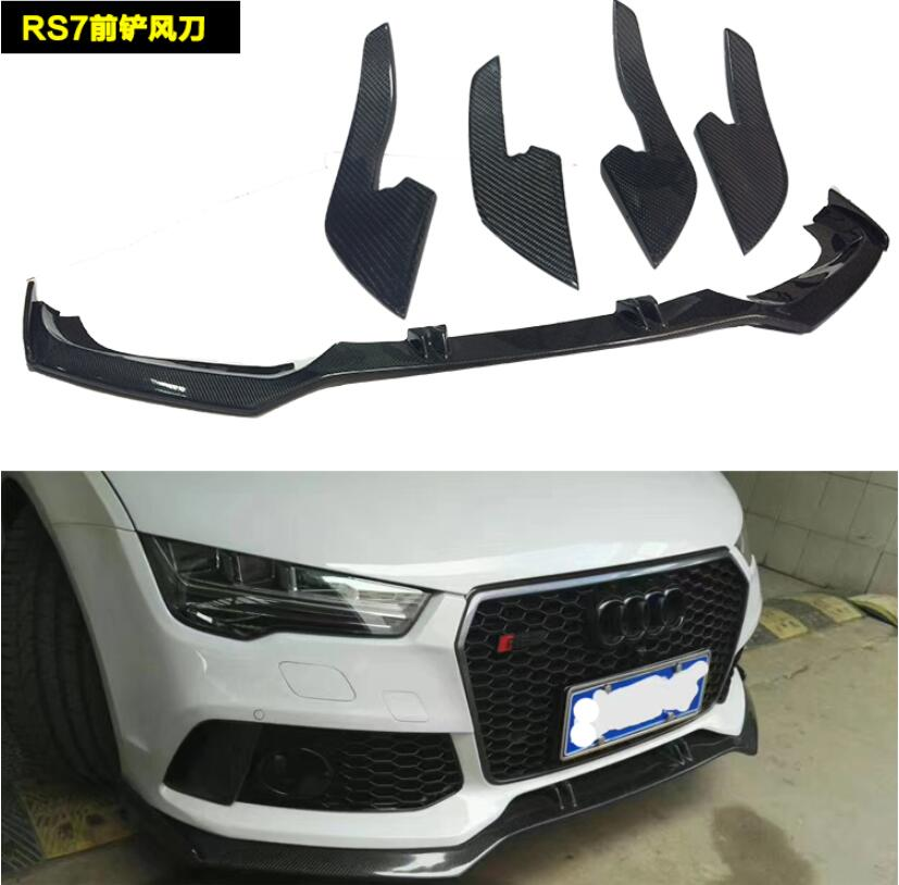 RS7 Real Carbon Fiber Front Bumper Lip Splitter Diffuser Lip Spoiler  For Audi A7 S7 RS7 2012 2013 2014 2015 2016 2017|Bumpers| |  - title=
