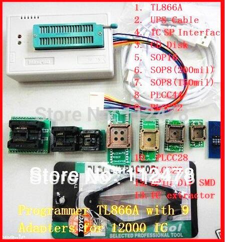 Free ship V7.32 original XGECU minipro TL866II Plus TL866A USB Universal BIOS nand flash 24 93 25 mcu Programmer+10 IC Adapters цена