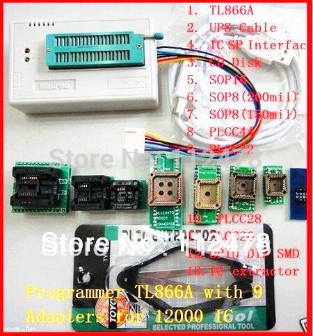 Free ship V8.08  original XGECU minipro TL866II Plus TL866A USB Universal BIOS nand flash 24 93 25 mcu Programmer+10 IC Adapters