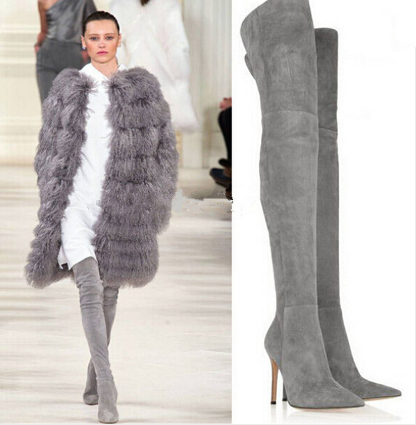 Plus size 43 grey suede high heels thigh high boots pointed toe side zipper stiletto heels over the knee motorcycle boots