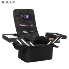 HHYUKIMI marke Professionelle Beauty Make-Up Fall Große Nylon Multilayer Clapboard Kosmetiktasche Eitelkeit Carry Box Reise Veranstalter