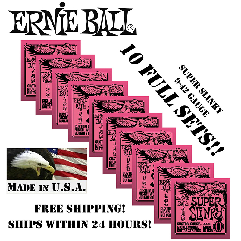 10 Pack Ernie Ball Super Slinky 009 042 Electric Guitar Strings 2223 Nickel Wound Set 10