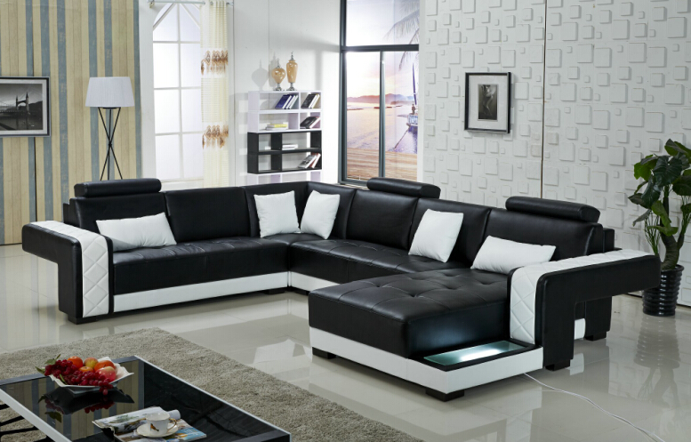 sofa set living room furniture modern sectional leather sofa and couches for living room black - Sectional Leather Sofas