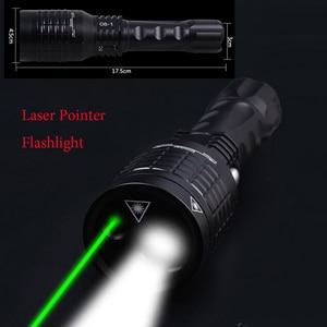 Image 1 - 2 em 1 lanterna led com ponteiro laser verde lazer pesquisa luz led luz 1800 lúmen led flash lâmpadas de luz para a caça pesca