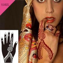 1pc Hot Glitter Flower Mehndi Henna Temporary Tattoo Stencil Sexy Women Hands Body Art Kit Waterproof Tasty Tattoo Template