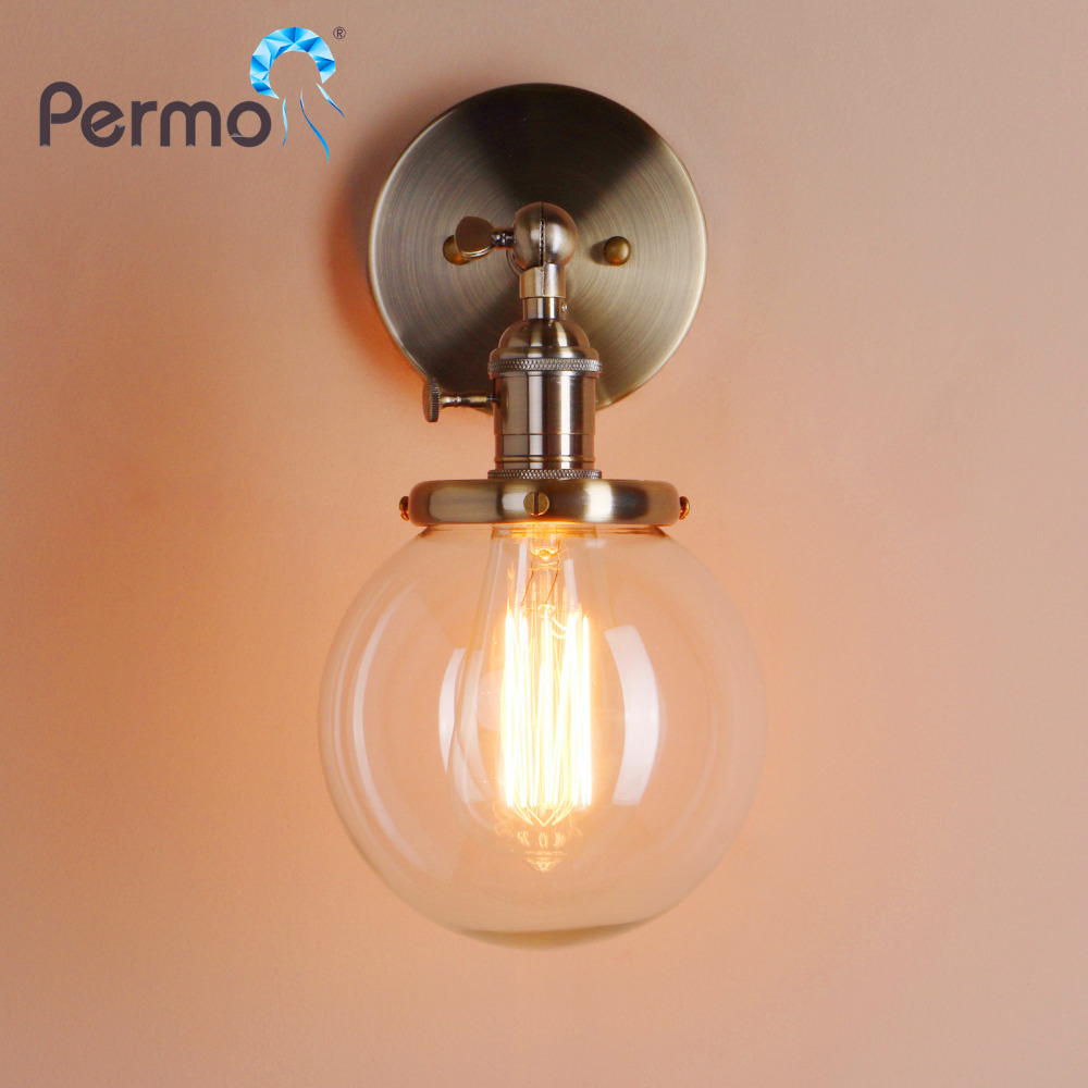 PERMO 5.9'' Modern Glass Metal Canopy Sconce Wall Lights Fixtures Retro Vintage Wall Lamp E27 Loft Home Decor Christmas Lights novelty led wall lamps glass ball wall lights for home decor e27 ac220v
