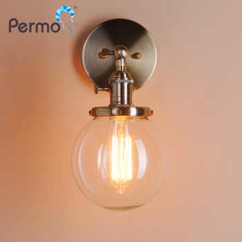 Permo 5.9'' Vintage Wall Lamp Modern Glass Wall Sconce Wall Lights Fixtures luminaire Loft Bedside Mirror Lamp Stair Lights - DISCOUNT ITEM  0% OFF All Category