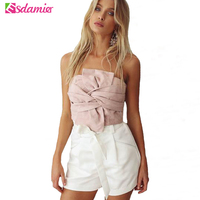 New Arrival Sexy Women S Bustier Crop Top Fashion Front Knot Cropped Tops Female Tank Top