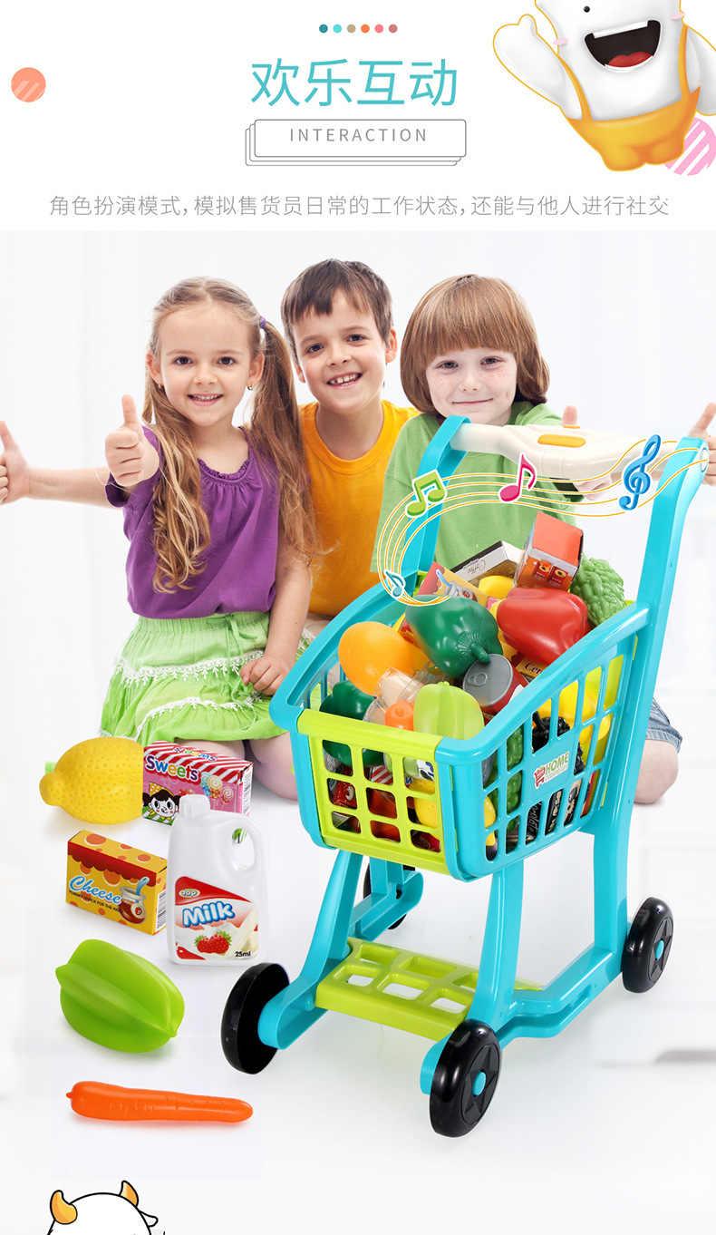 27 Aksesoris Keranjang Belanja Mainan Anak Berpura-pura Bermain Simulasi Buah Sayuran Ulang Tahun Liburan Mainan untuk Gadis Anak-anak Hadiah