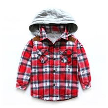 2016 Winter Children Plus velvet Clothes boys Shirt On Hood Cotton 3 Color Thickening Kids Check Shirts Long Sleeve Boys Blouses