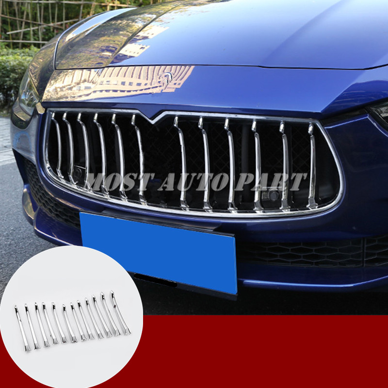ABS Chrome Center Grille Grid Molding Trim Cover For Maserati Ghibli 2014 2017