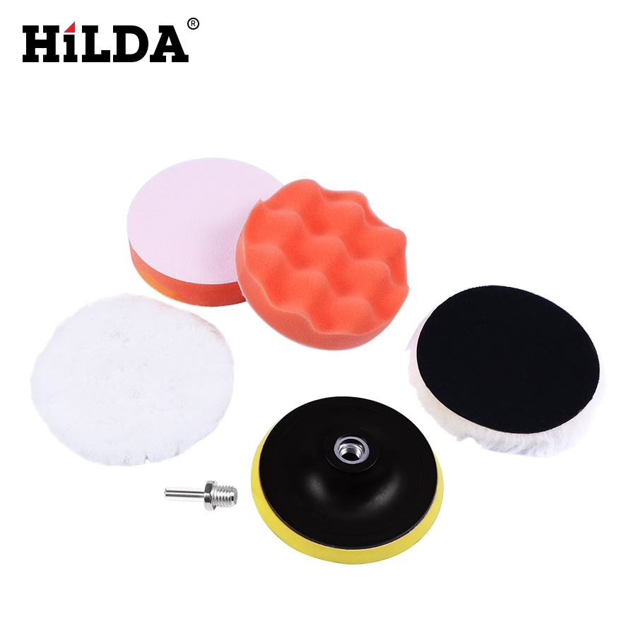 HILDA Car Polishing Pad Set Polishing Buffer Waxing Buffing Pad Drill Set Kit Car Polishing Sponge Wheel Kit Polisher 5/6/7 Inch