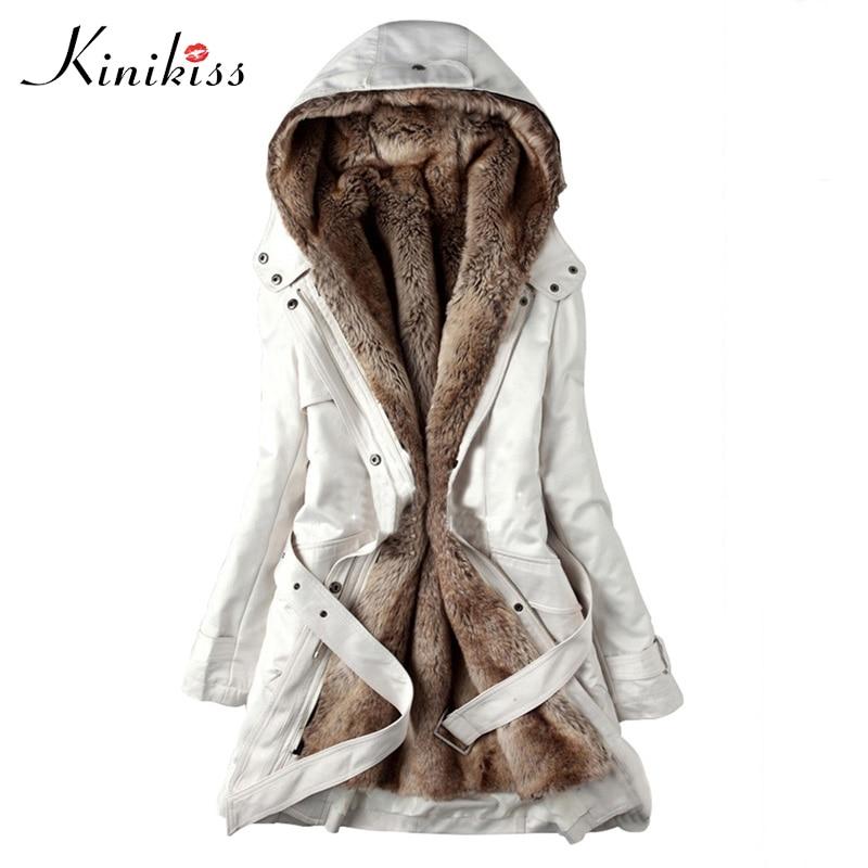 Kinikiss 2018 hiver chaud femmes Parkas blanc noir à capuche fausse fourrure manteau veste mode armée vert mince doublure coton manteau Parkas