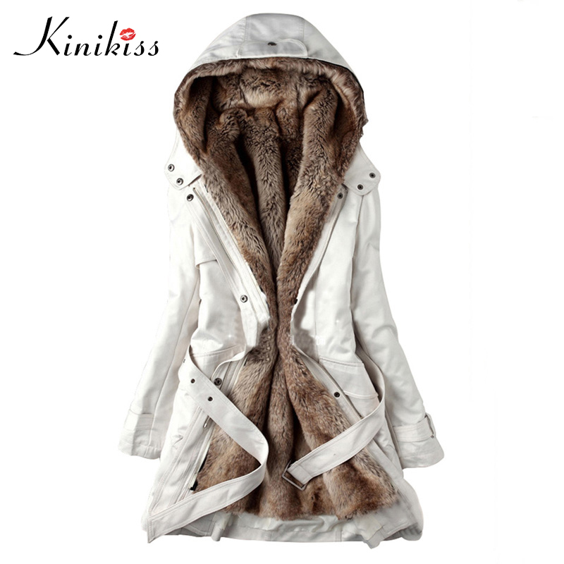 Kinikiss 2018 Winter Warm Women   Parkas   White Black Hooded Faux Fur Coat Jacket Fashion Army Green Slim Liner Cotton Coat   Parkas