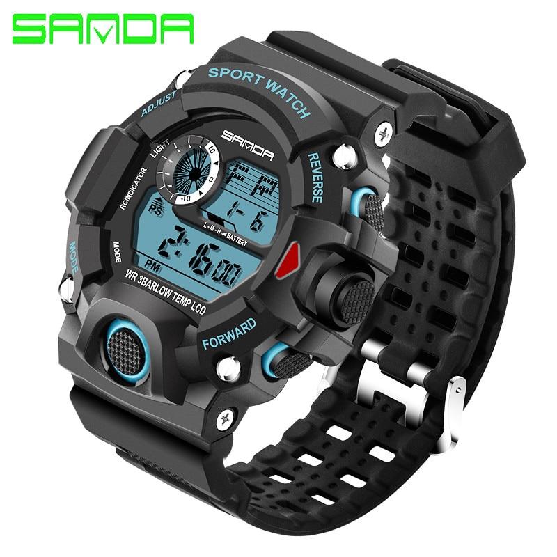 SANDA Merkhorloge Herenmode LED Digital Military Sport horloge - Herenhorloges - Foto 2