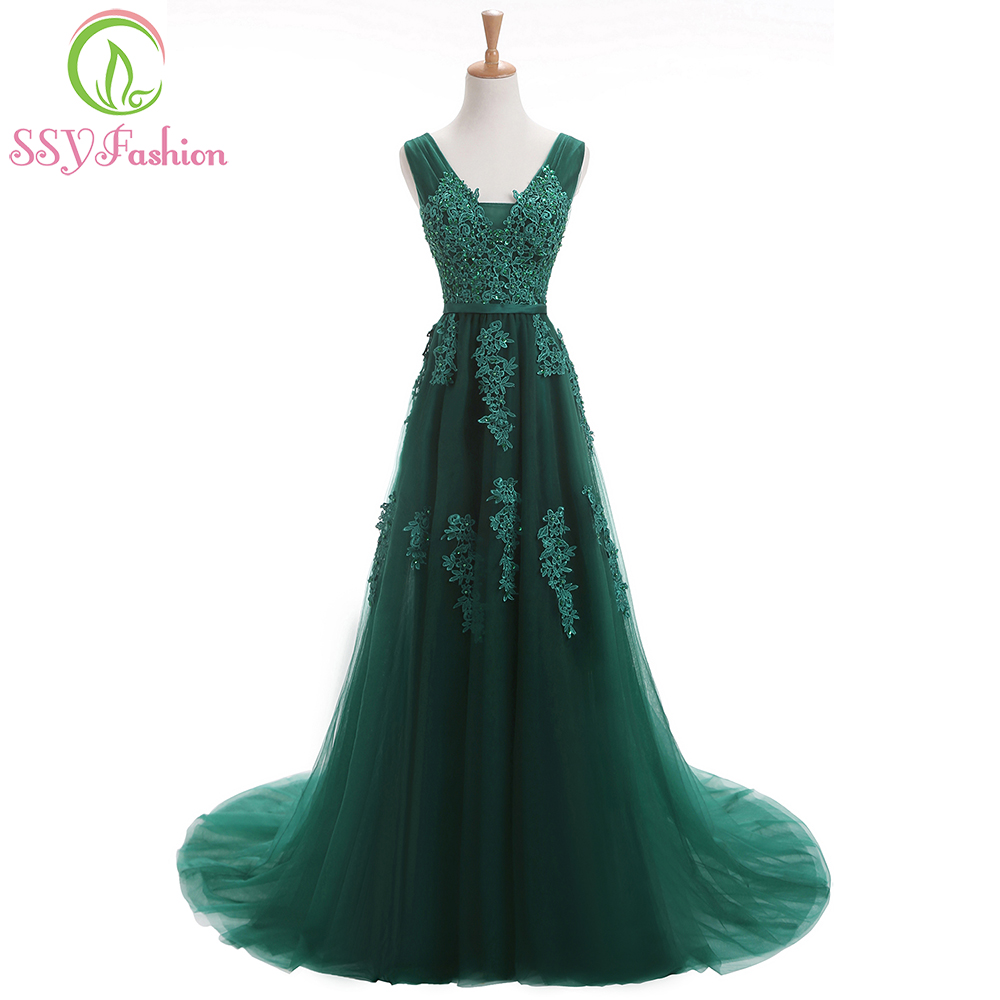 Robe De Soiree SSYFashion 2017 Sexy Backless Long   Evening     Dresses   The Bride Elegant Banquet Green Lace V-neck Formal Party Gown