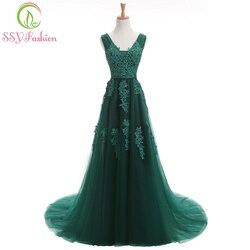Robe de soiree ssyfashion sexy sem costas vestidos de noite longos a noiva elegante banquete de renda verde com decote em v formal vestido de festa