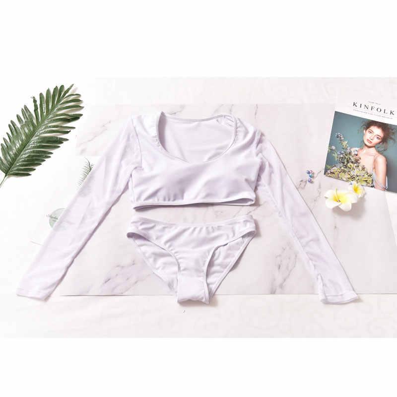 Perempuan Dua Potong Baju Renang Set Hitam Solid Lengan Panjang K Berlaku Tankini Tanaman Top Segitiga Bawah Perlindungan Sinar UV Matahari baju Renang